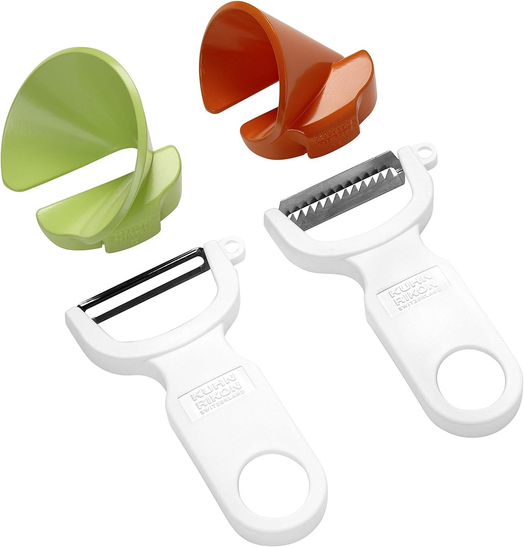 Kuhn Rikon Click-N-Curl Spiralizer Set with Swiss & Julienne Peelers, White/Orange/Green