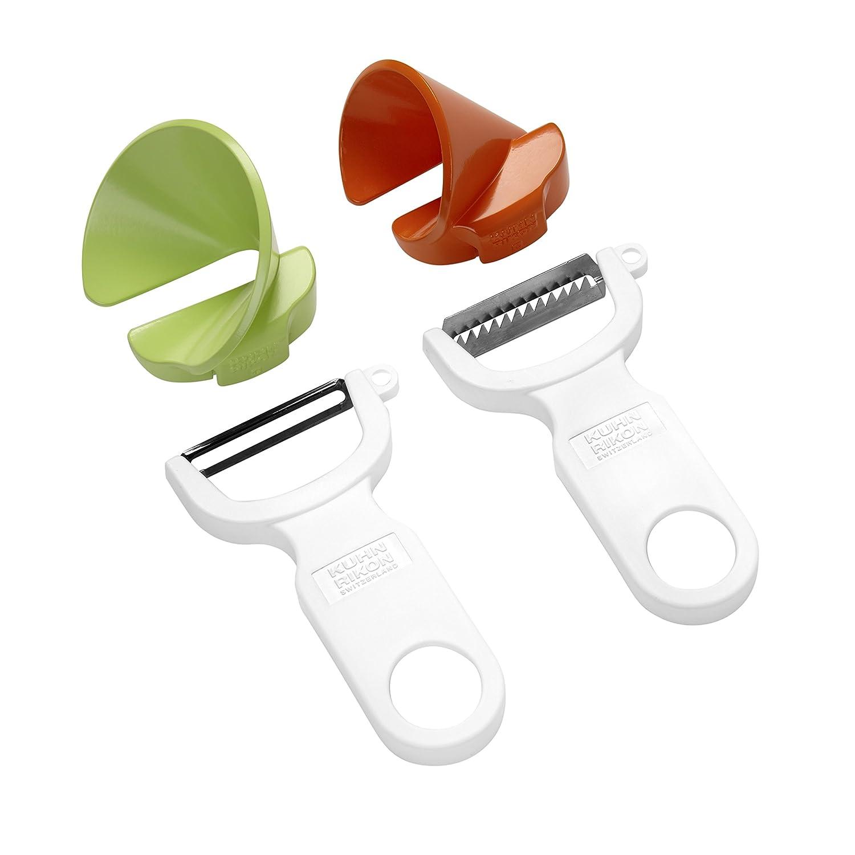 Kuhn Rikon Click-N-Curl Spiralizer Set with Swiss & Julienne Peelers, White/Orange/Green 23071