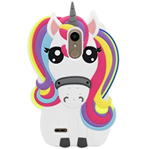 Mulafnxal Rainbow Unicorn Case for LG Aristo 2,3D Soft Silicone Tribute Dynasty/K8 2018 2017//K4 2017 MS210n Cases,Cute Kids Girls Cartoon Cover,Kawaii Animal Character Rubber Protector for LG Phoenix