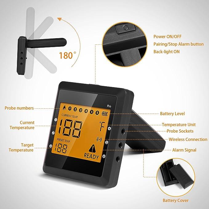 Compra Termómetro de barbacoa 6 sondas de alimentos de carne termómetro, remoto inalámbrico digital inteligente 6 canales de cocina para cocinar barbacoa al ...