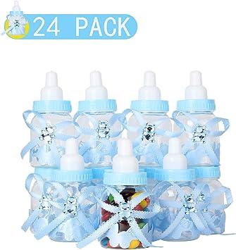 VCOM 24 Piezas Botella De Caramelo, Botella Botellas Cajas Dulces Porta Dulces Confeti Regalo para Nacimiento Bautizo Bautismo Cumpleaños Bebé Niño Decoraciones De Baby Shower -Azul: Amazon.es: Juguetes y juegos