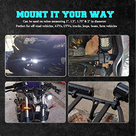 Led Light Bars Samlight 4 Inch Combo Beam Led Pod Off Road Driving Lights with Horizontal Bar Clamp Mounting 1// 1.5// 1.75// 2 and Wiring Harness for Bull Bar Tube Clamp Roof Roll Cage Holder