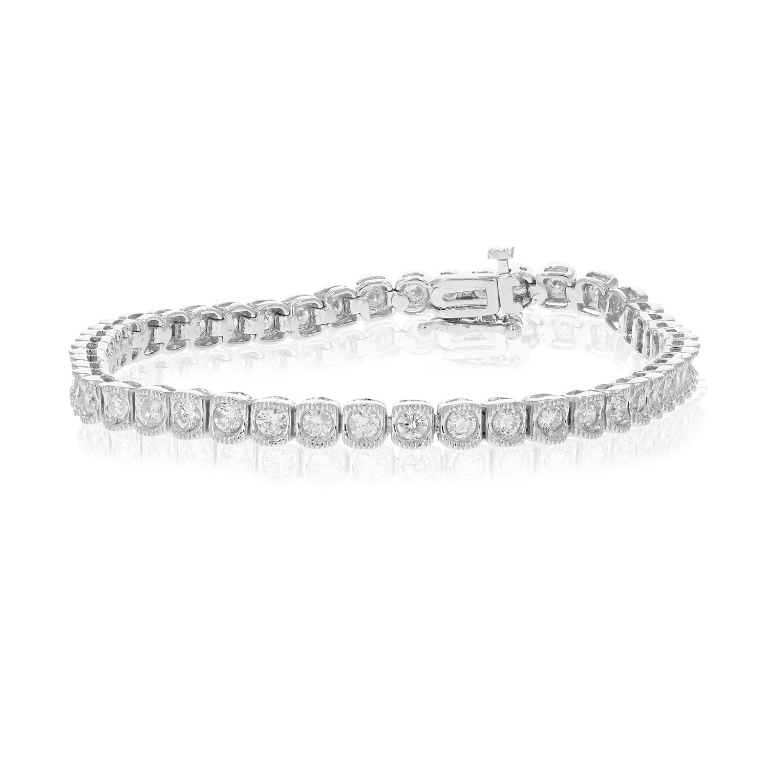 2 CT AGS Certified SI2-I1 Diamond Bracelet Milgrain Style 14K White Gold (G-H) by Vir Jewels
