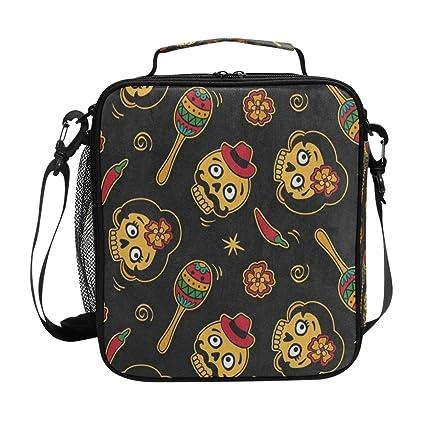 bfed8e10da33 Amazon.com: Lollipop Cute Sugar Skull Black Lunch Bag Womens ...