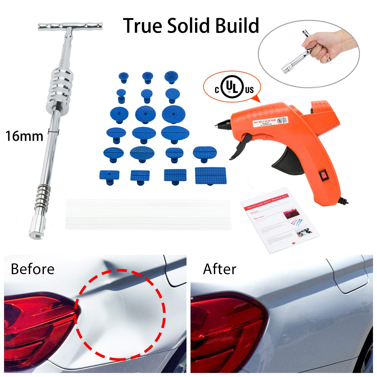 Paintless Dent Repair Puller Kit, 2-in-1 Grip PRO Slide Hammer T-Bar Tool with 20pcs Dent Removal Glue Pulling Tabs for Car Auto Body Hail Damage Remover (KIT B)
