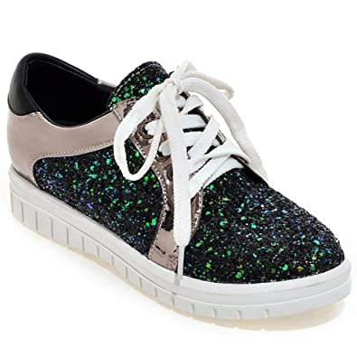 1004aae5b9a DecoStain Womens Ladies Flat Lace Up Glitter Sparkly Trainers Sneakers  Shoes Size Black