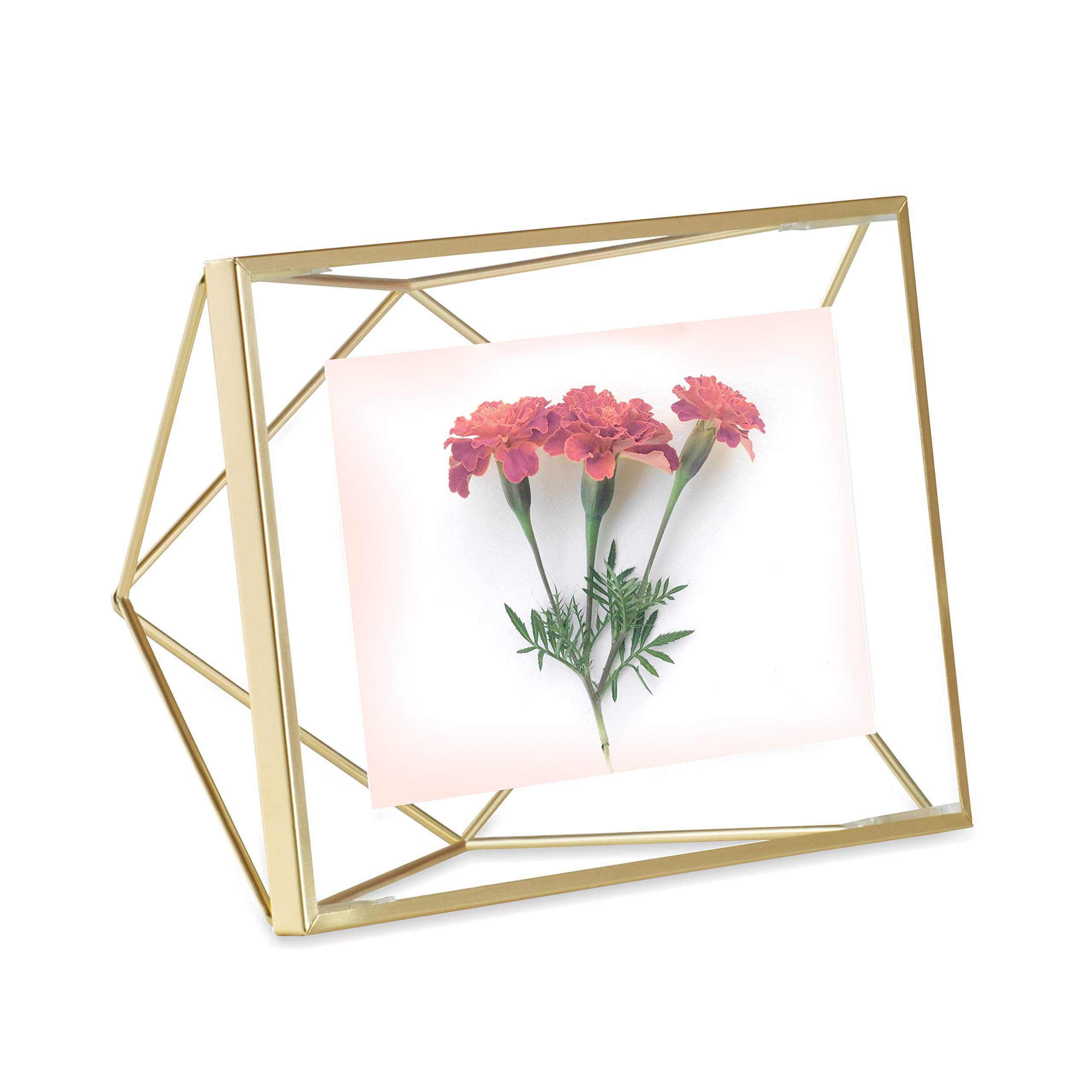 Umbra Prisma Picture Frame, 4x6 Photo Display for Desk or Wall, Brass by Umbra