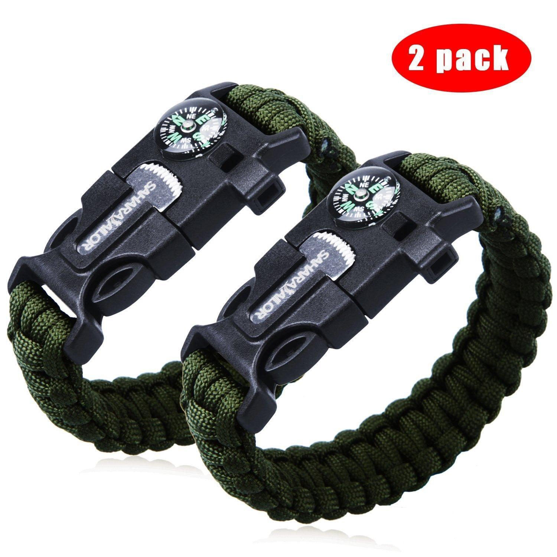 "2Pcs Pack 9"" Multifunctional Paracord Bracelet Sahara Sailor Outdoor Survival.. 14"