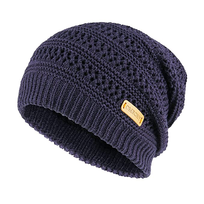 07fa7ff2edcd14 OMECHY Slouchy Beanie Hats Unisex Daily Knit Skull Cap Winter Warm Fleece  Soft Baggy Hat Ski