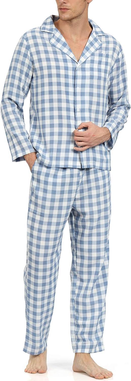 YIMANIE Mens Pajama Set Soft Cotton Classic Plaid Sleepwear Lounge Set