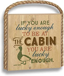 product image for Imagine Design Lucky Enough to be at The Cabin Great Outdoors Plaque