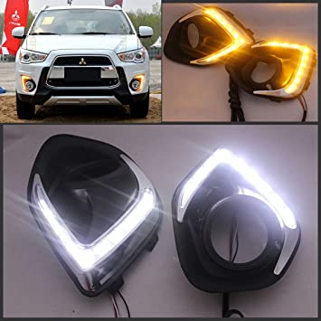 2 x LED luces de conducción diurna DRL Niebla lámpara para Mitsubishi ASX Outlander Sport 2013 2014 2015 con ámbar intermitente lámpara cnautolicht: ...