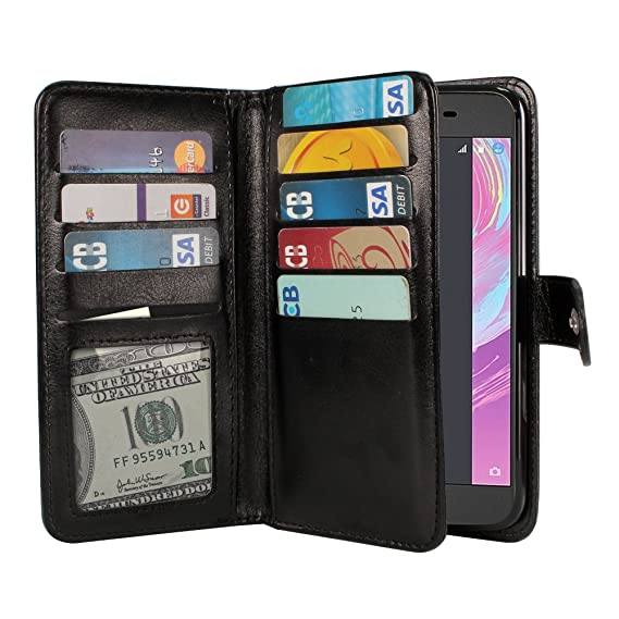 huge selection of c4db3 1cc0a NEXTKIN Xperia X Case, Leather Dual Wallet Folio TPU Cover, 2 Large Pockets  Double flap Privacy, Multi Card Slots Snap Button Strap For Sony Xperia X  ...