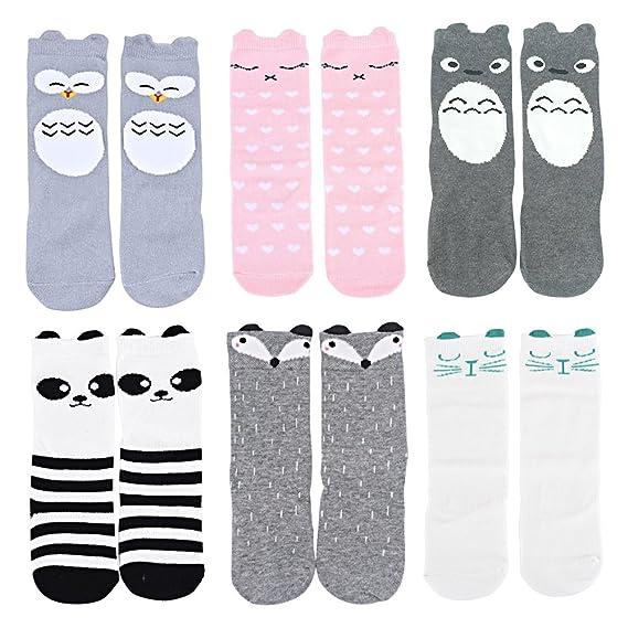 Set de calcetines OLABB altos hasta la rodilla, temática animal, para bebés, paquete de 6: Amazon.es: Ropa y accesorios