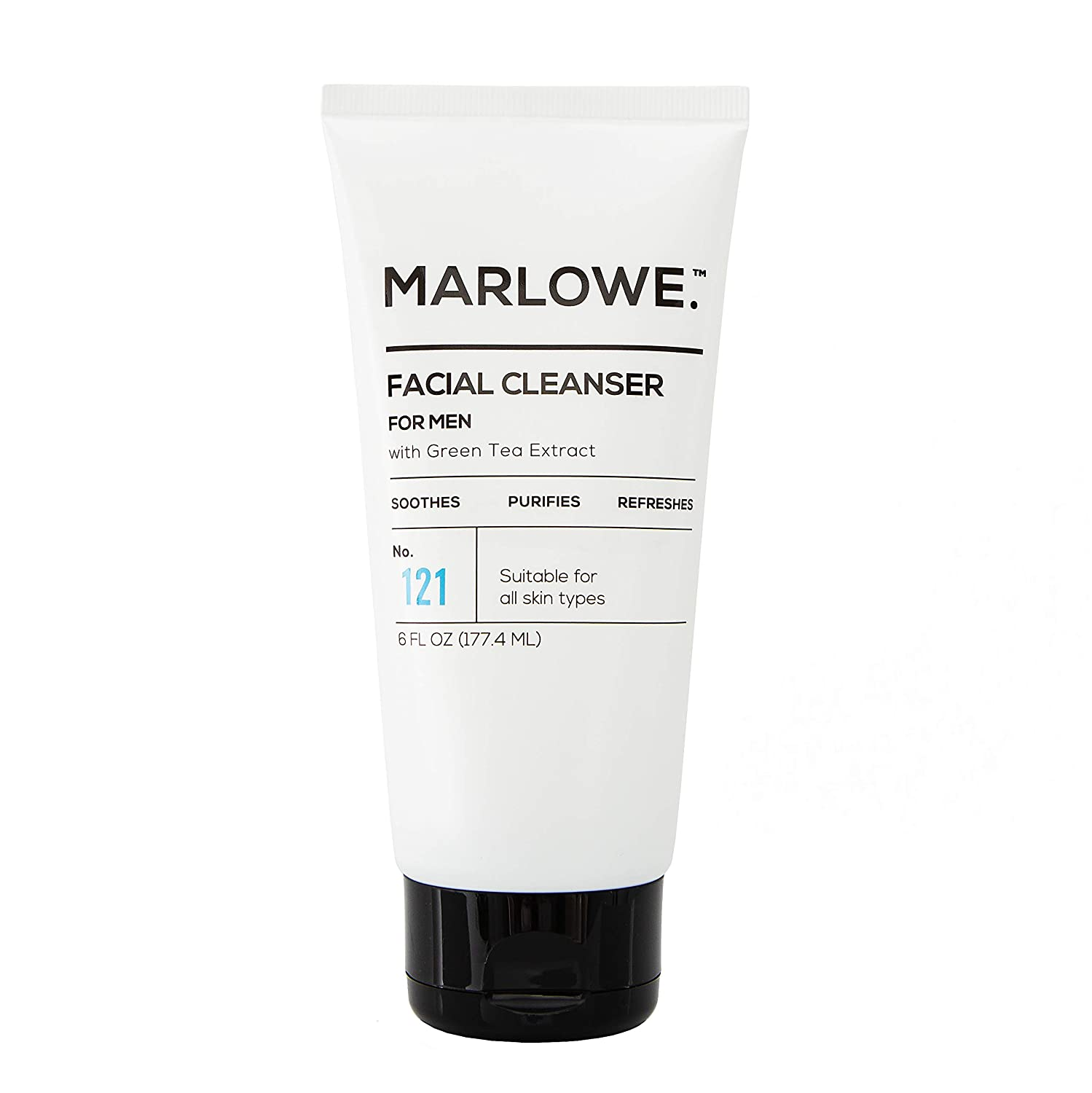 MARLOWE. No. 121 Facial Cleanser for Men 6oz | Daily Face Wash with Natural Extracts & Antioxidants | Soothes, Purifies, Refreshes | Thick Lather, No More Dry
