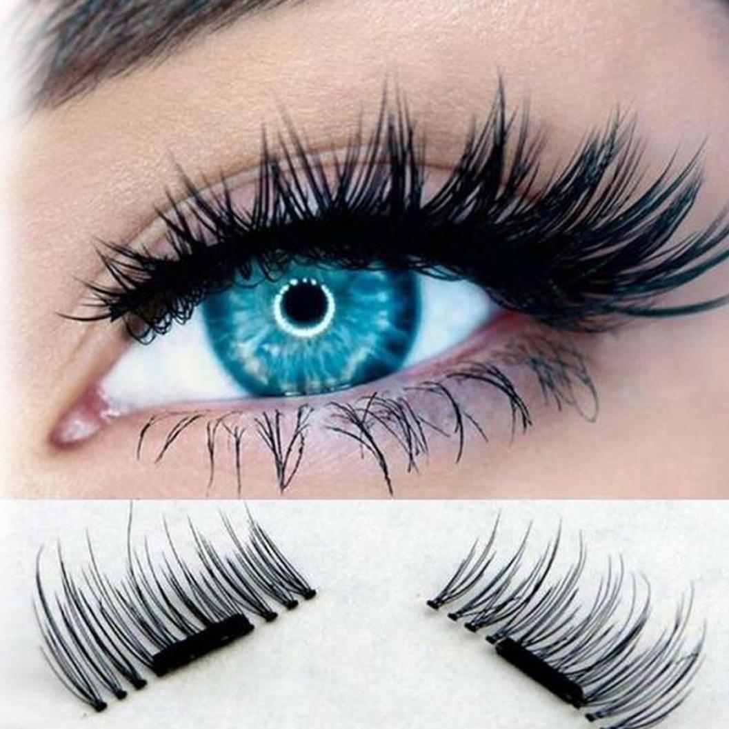 1 Paire Dual Magnetic Eyelashes Faux Cils Femmes, QinMM Beauté Cils Magnétiques Ultra-minces de 0.2mm Cils Réutilisables de Faux 3D Naturels Fait à la Main Longues (1.3 cm, Noir)