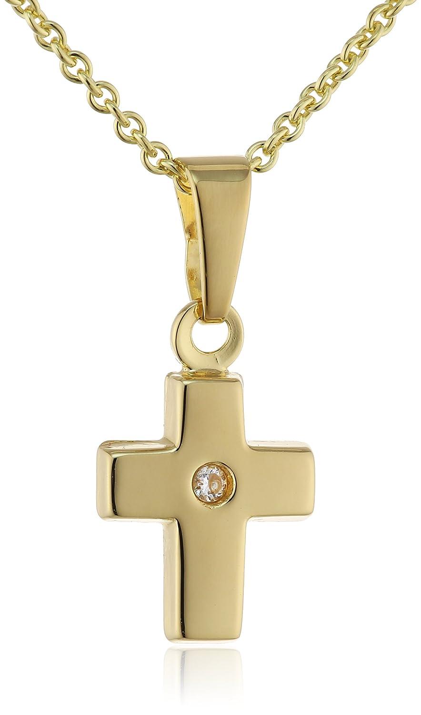 Xaana Kinder und Jugendliche Halskette 8 Karat (333) Gelbgold Zirkonia 38 cm weiß AMZ0338