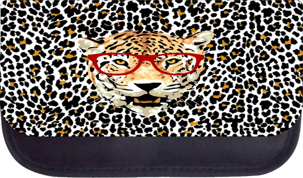 Hipster tiger Rosie Parker Inc TM Medium Sized Messenger Bag 11.75 x 15.5 and 4.5 x 8.5 Pencil Case SET