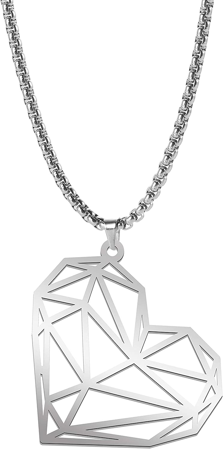 cooltime Stainless Steel Hollow Out Geometric Animal Pendant Necklace for Unisex, 23'' Box Chain