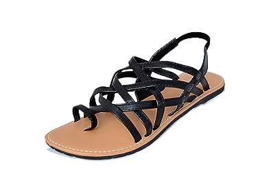 4f707b9d583 Myra Women s Black Criss Cross Strap Sandals - 8 (MS759C2S8)  Buy ...