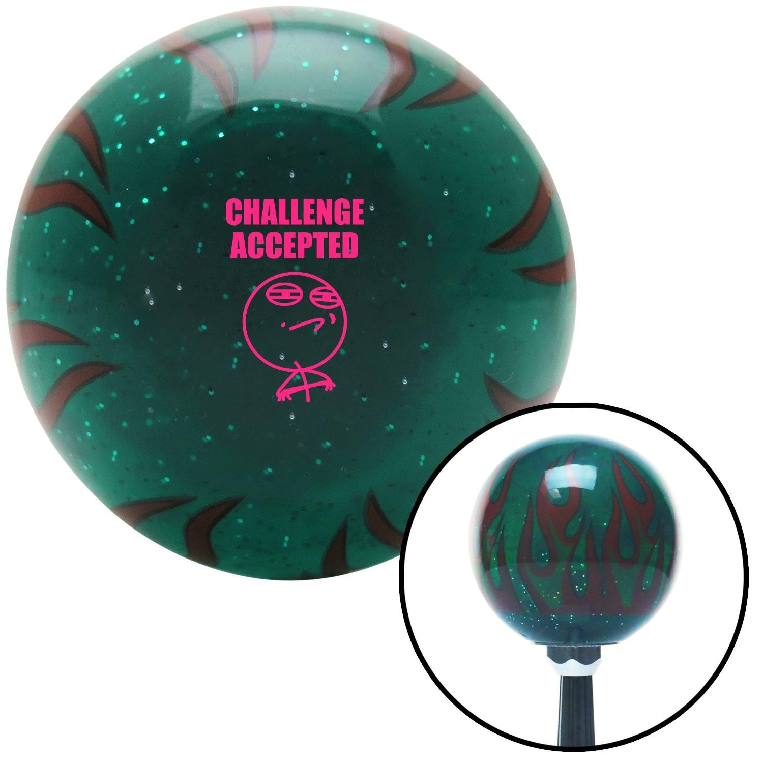 American Shifter 300066 Shift Knob Pink Challenge Accepted Green Flame Metal Flake with M16 x 1.5 Insert