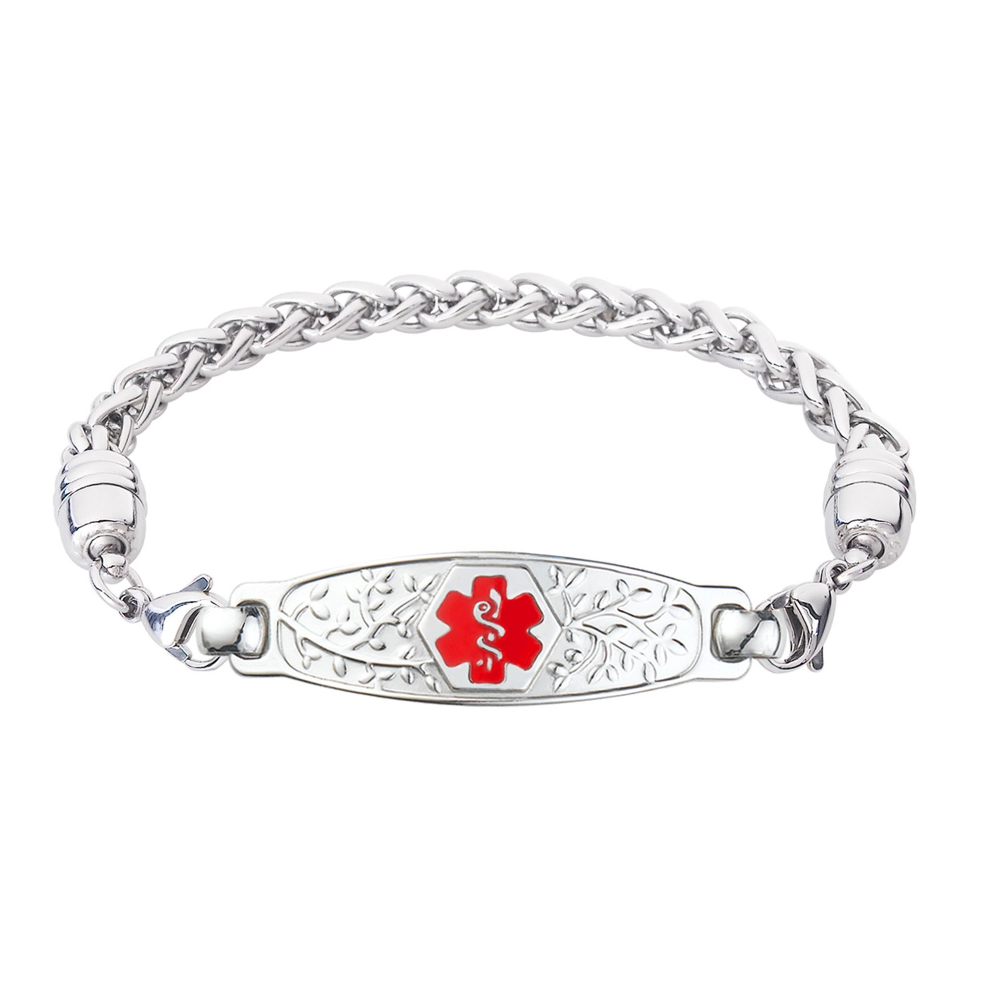 Divoti Custom Engraved Beautiful Olive Medical Alert Bracelet -Wheat Stainless -Red-7.0''