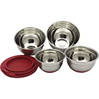 Checkered Chef Stainless Steel Mixing Bowls Set of 4 - Med to Small - Nesting Stackable Stainless Steel Bowls with Lids…
