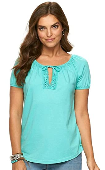 115ee56033bcb6 Chaps Womans  Crochet Lace-Trim Peasant Top (Small