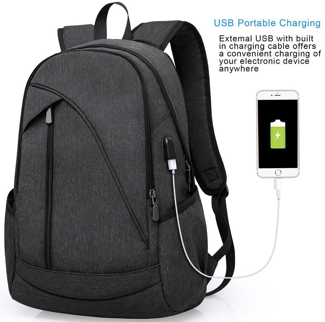 Tocode Water Resistant Laptop Backpack with USB Charging Port Fits up to 15.6-Inch Laptop and Notebook Black Tocode_2225