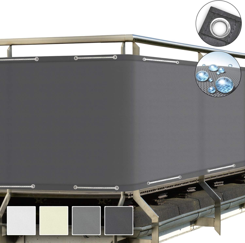 Schermo Privacy Crema Impermeabile Sol Royal Frangivista e Telo frangivento per balconi SolVision PB2 90x300 cm con Occhielli