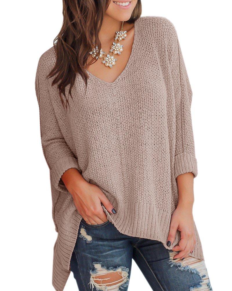 Niitawm Womens Casual V Neck Loose Knit Sweaters Asymmetrical hem Oversized Sweater Pullover Tops (XL,Khaki)