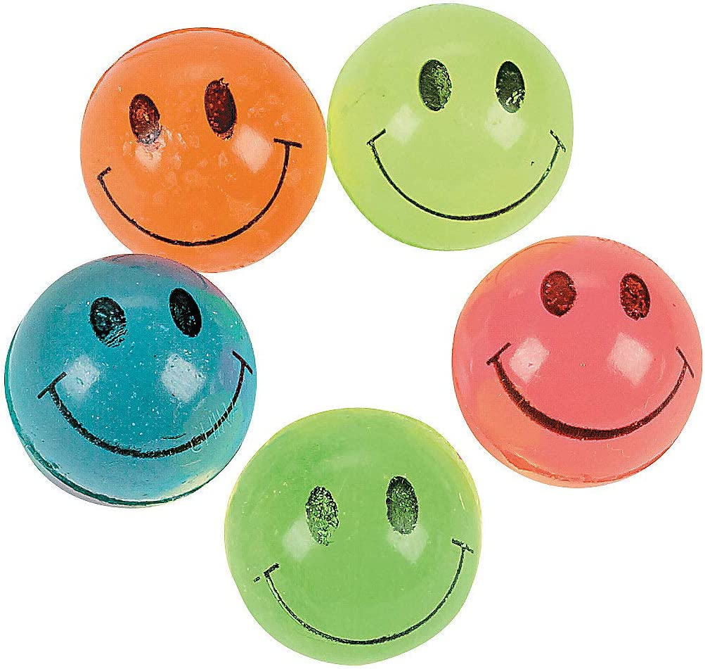 Mid-Size Super High Bouncy Balls w Bright Solid Color Happy Face Smile Smiling Emoji Face Mixed Lot Style Multicolor {25mm} 144 Bulk Pack