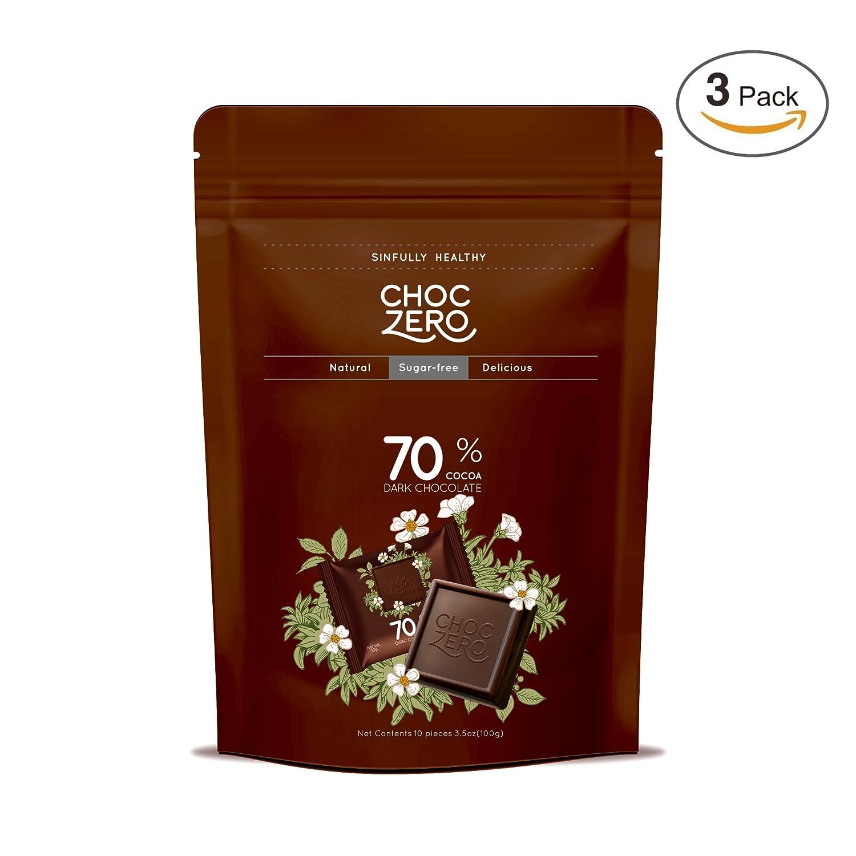 ChocZero 70% Dark Chocolate, Sugar free, Low Carb, No Sugar Alcohol, No Artificial Sweetener, All Natural, Non-GMO
