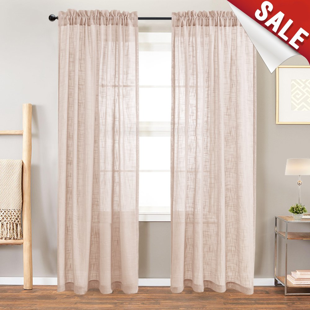 Linen Like Sheer Curtain Panels for Bedroom 108 inches Long Rod Pocket Curtain Panels for Living Room Window Curtains (2 panels, Taupe)