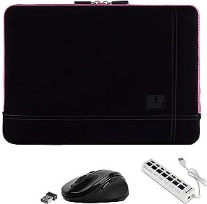 15.6inch Shock Absorbing Pink Laptop Sleeve, USB Hub, Mouse for Lenovo IdeaPad Flex ThinkPad Yoga Legion V Series