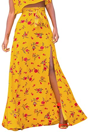 4d478b31c6 PJTOP Juniors Casual High Split High Wasit Print Maxi Skirt Dresses Yellow S