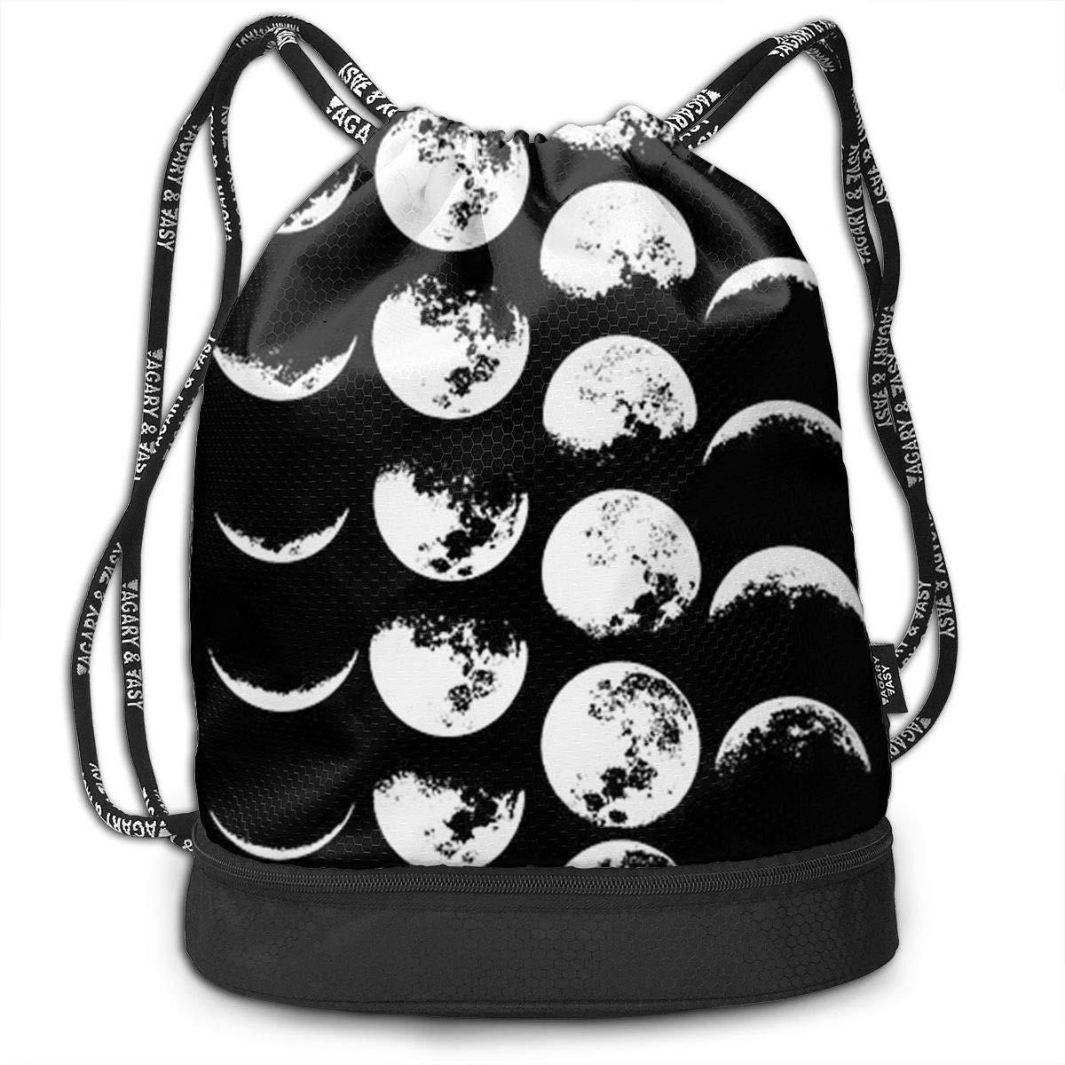 Moon Phases Cinch Backpack Sackpack Tote Sack Zol1Q Lightweight Waterproof Large Storage Drawstring Bag for Men /& Women