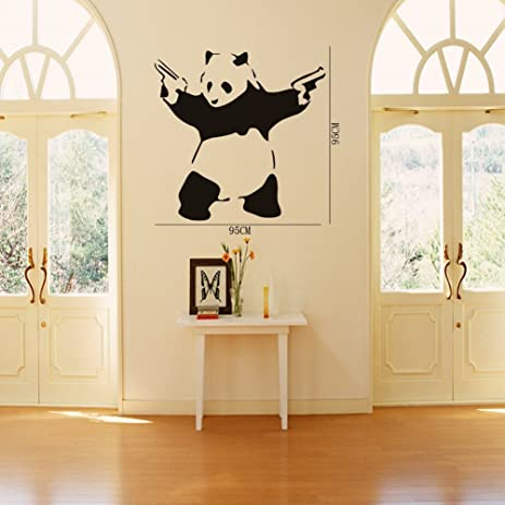 23.6u0026quot; X 45.3u0026quot; Large Cool Crazy Panda Gun Shooting Wall Stickers  Decals DIY Removable