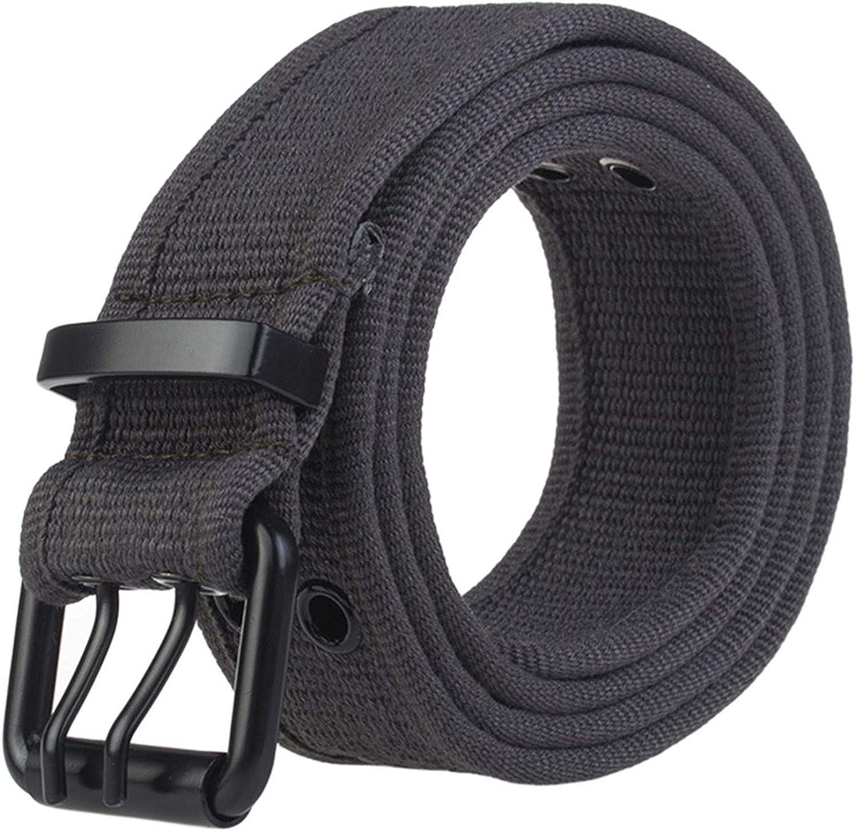 Soluo Double Grommet Hole Buckle Belt Canvas Web Belts for Men Women Military Style 2 Prong Buckle