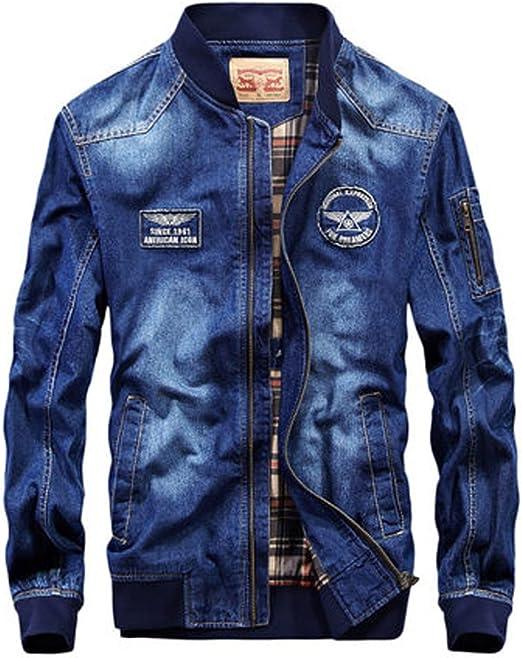 [habille]メンズ デニムジャケット MA-1 アメカジ 古着系 フライトジャケット アウター カジュアル 大きいサイズ おまけ付(2カラー)