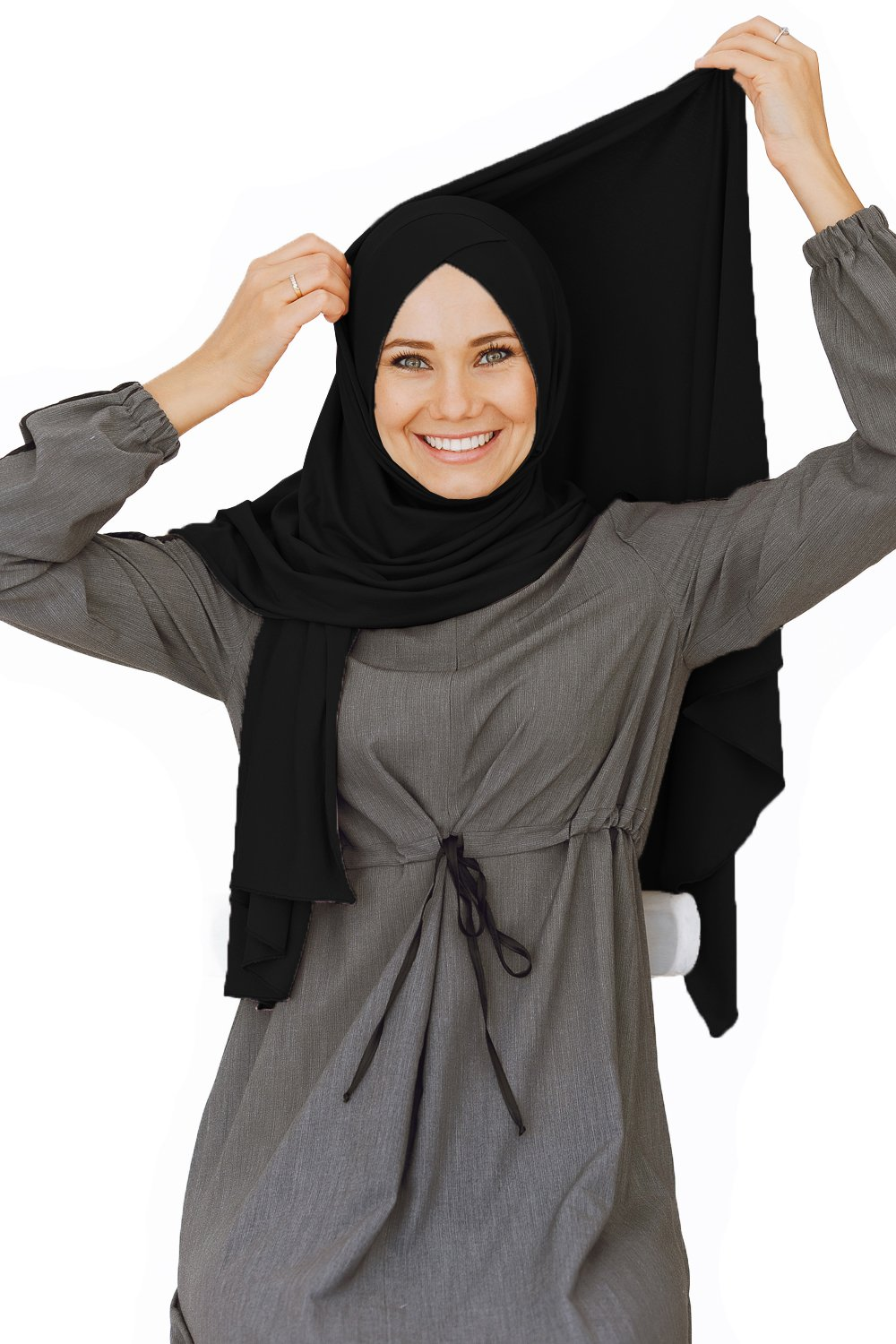 Cotton head scarf, instant black hijab, ready to wear muslim accessories for women (Black) by VeilWear (Image #6)