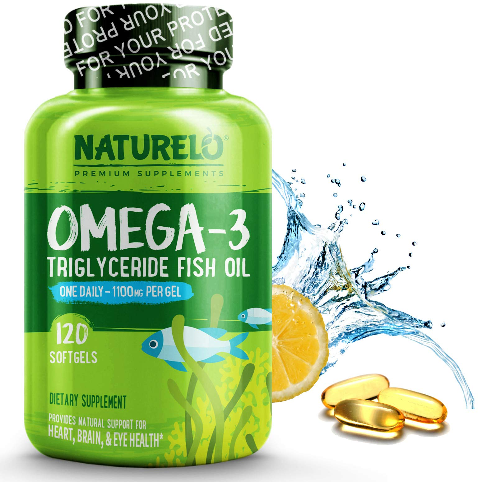 NATURELO Omega-3 Fish Oil Supplement - EPA DHA - 1100 mg Triglyceride Omega-3 per Gel - One A Day - Best for Heart, Eye, Brain, Joint Health - No Burps - Lemon Flavor - 120 Softgels | 4 Month Supply by NATURELO