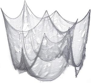 IMIKEYA Halloween Creepy Cloth Gray Spooky Halloween Decoration Creepy Cloth Cheesecloth Doorway Creepy Fabric Decor for Haunted House Patio Garden, Light Grey