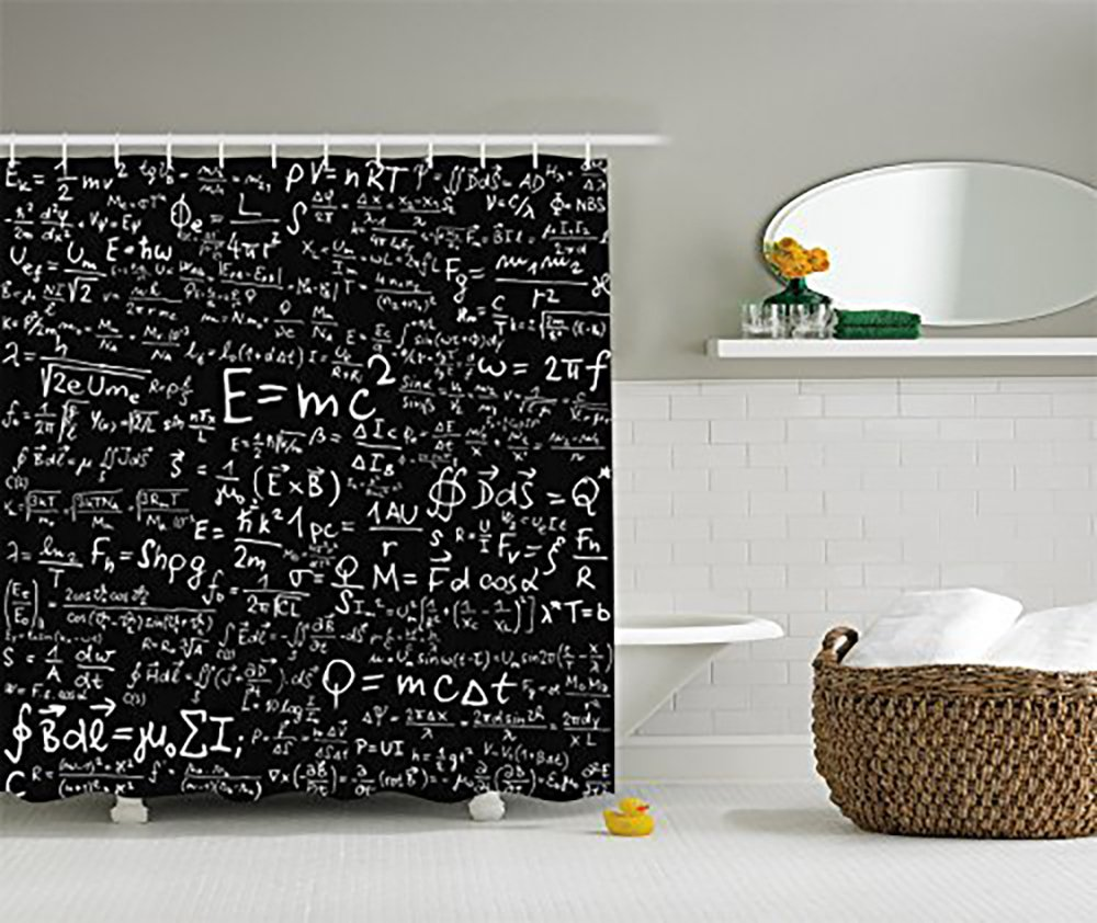 Amazon Einstein Physics Formula Science Geek Black White Fabric Shower Curtain Gift Elusive To Your Call 60x72inch Home Kitchen