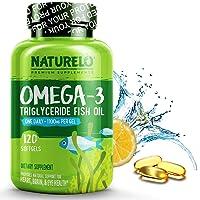 NATURELO Omega-3 Fish Oil Supplement - EPA DHA - 1100 mg Triglyceride Omega-3 per Gel - One A Day - Best for Heart, Eye, Brain, Joint Health - No Burps - Lemon Flavor - 120 Softgels | 4 Month Supply