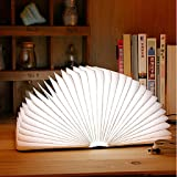 [Upgraded] Excelvan Wooden Folding USB Rechargeable Book Light 500 lumens Up To 8 Hours for Decor/Desk/Table/Wall Magnetic Lamp,Novelty Book Style LED Night Light,Bright White