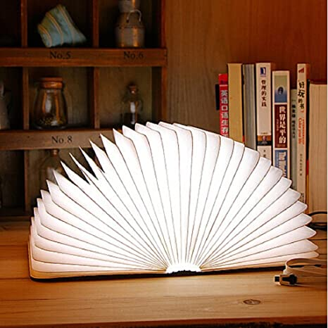 Amazon Book Light Fascinating Upgraded] Excelvan Wooden Folding USB Rechargeable Book Light 60
