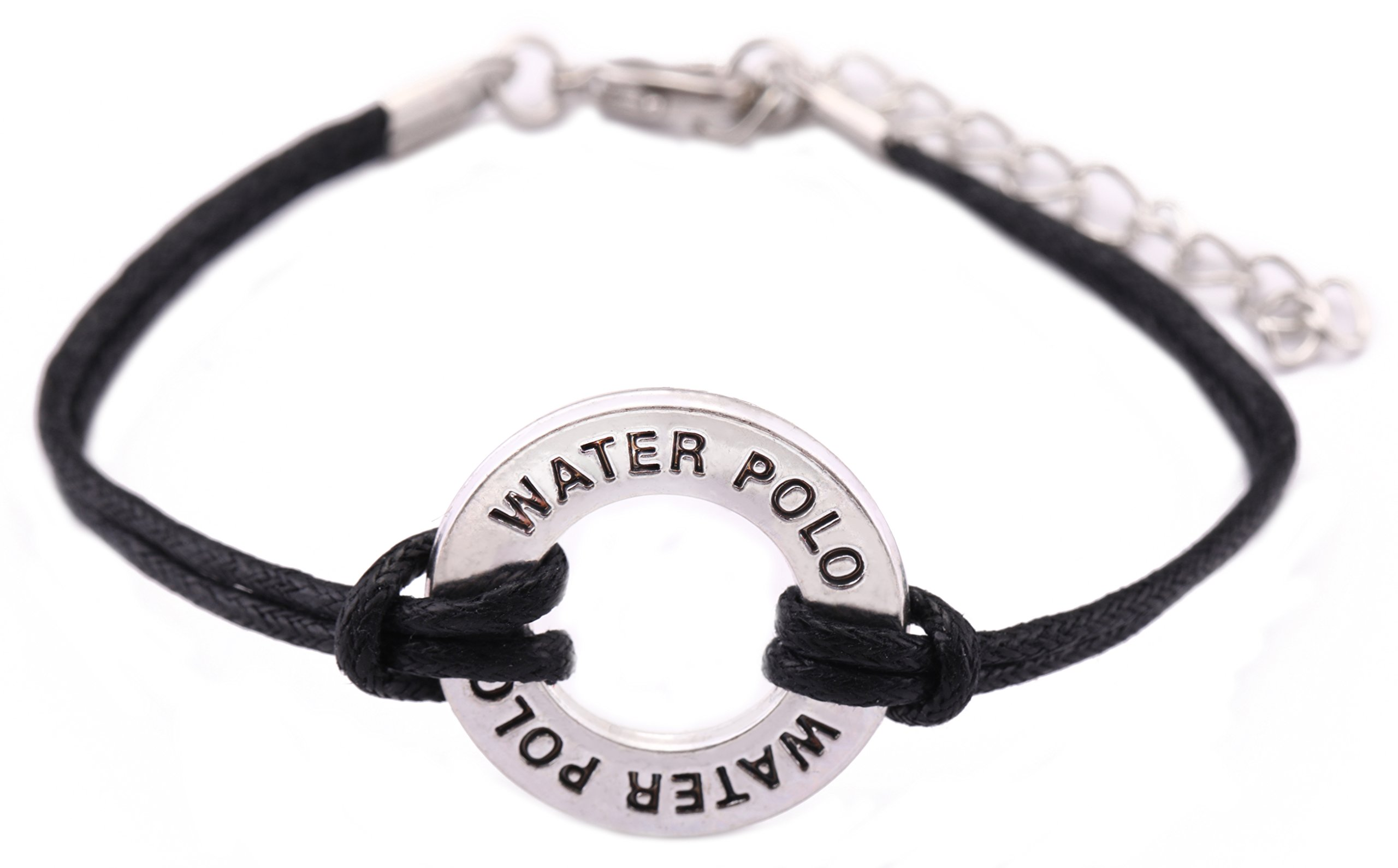 Teamer Adjustable Wax Cord Bracelet Message Water polo Charm Sports Jewelry for Woman/Man Best Gifts