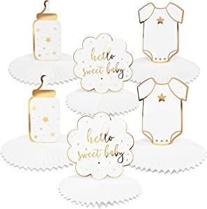 Hello Sweet Baby Honeycomb Centerpiece, Gold Foil Baby Shower Decorations (3 Designs, 6 Pack)