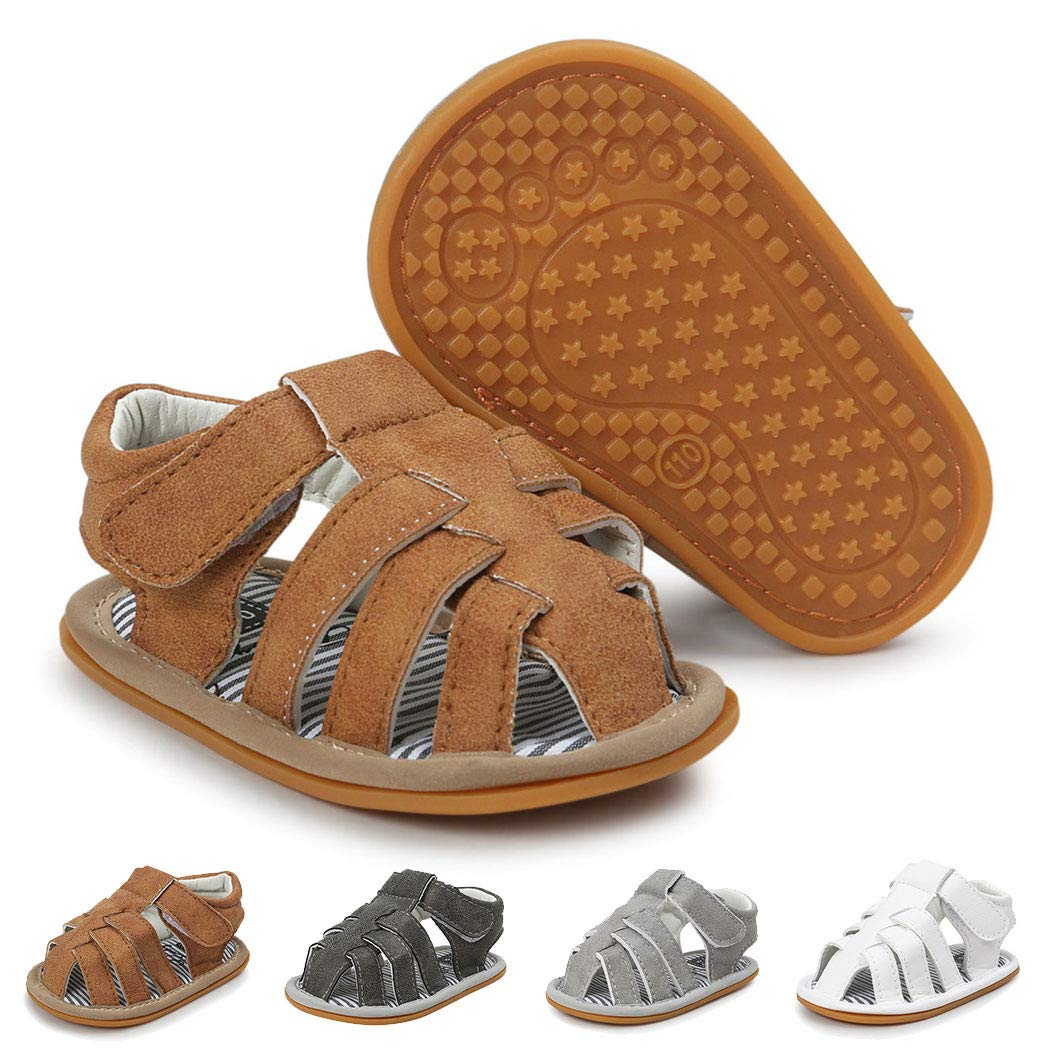 Baby Boy Sandals Summer Anti-Slip Rubber Sole First Walkers Shoes Infant Sandals for Toddler Girls 0-18 Months